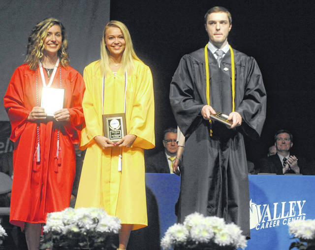Haley Stine of Newton, Olivia Quinter of Russia, and Holden Garber of Sidney were honored for carrying the highest four-year grade point average during Thursday's Upper Valley Career Center43rd Annual Convocation at Hobart Arena.Stine was a member of the Medical Careers Academy, Quinter studied Cosmetology, and Garber studied Electrical Trades.