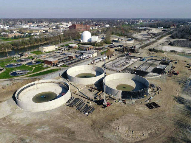 Provided photo An aerial look at the ongoing renovations at the Piqua Wastewater Treatment Plant in April, including the construction of three settling clarifier tanks that are 125 feet in diameter by 16 feet in depth, as well as oxidation ditches and a head works building. Last year at this time, this land was an abandoned quarry field.