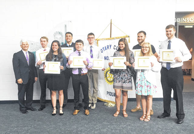Provided photo Recipients of scholarships from the Piqua Rotary Club are shown with Rotary Chair Tony Wendeln. Left to right, front row, are: Alanna O'Leary, Aldo Barrera, Darby Bubp and Kate Dolder. Left to right, back row, are: Wendeln, Logan Copsey, Kameron Lee, Casey Graves, Ben Schmiesing and Brent Lemmon.