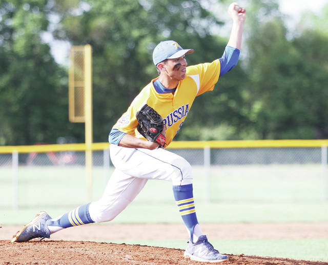 Luke Gronneberg/Aim Media Photo Russia's Daniel Kearns pitches against Deer Park at Miamisburg Saturday.