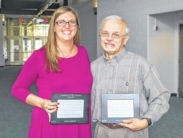 Provided photo Amber Selhorst and Vince Miller have been named 2018 Spring Employees of the Semester at Edison State Community College.