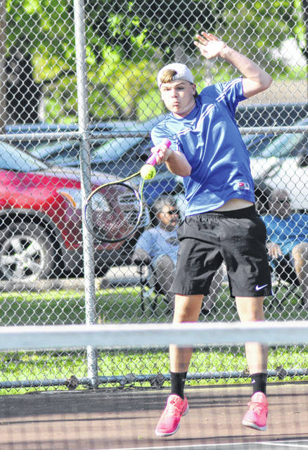 Rob Kiser/Call Photo Lehman Catholic's Danny Lins returns a serve in a Division II sectional semifinal match with Milton-Union Saturdaay at Troy Community Park.