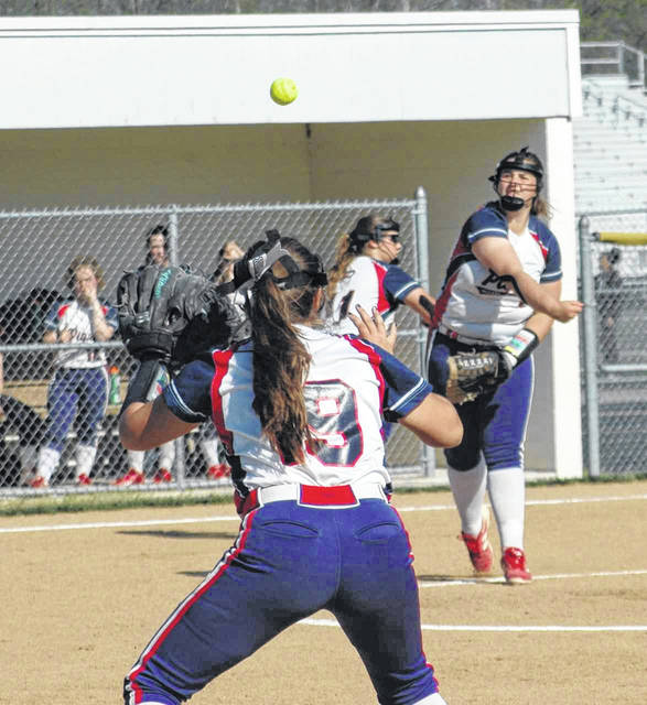Ron Nunnari/Aim Media Photo Piqua pitcher Mariah Blankenship throws to Kathy Young at first base for an out against Northmont Monday.