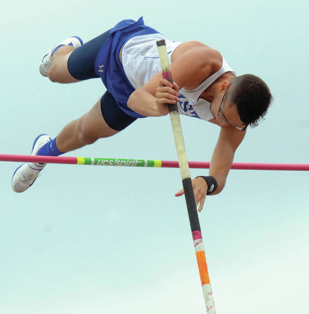 Mike Ullery | Daily Call Blaine Brokschmidt of Miami East clears the bar on his way to a fourth-place finish in pole vault competition at Division II state track meet on Friday.