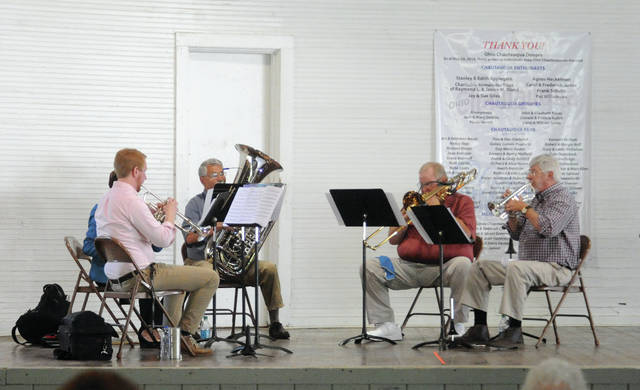Mike Ullery | Daily Call The Gotham City Brass Quintet performs at Hance Pavillion on Wednesday during Piqua Chautaqua.