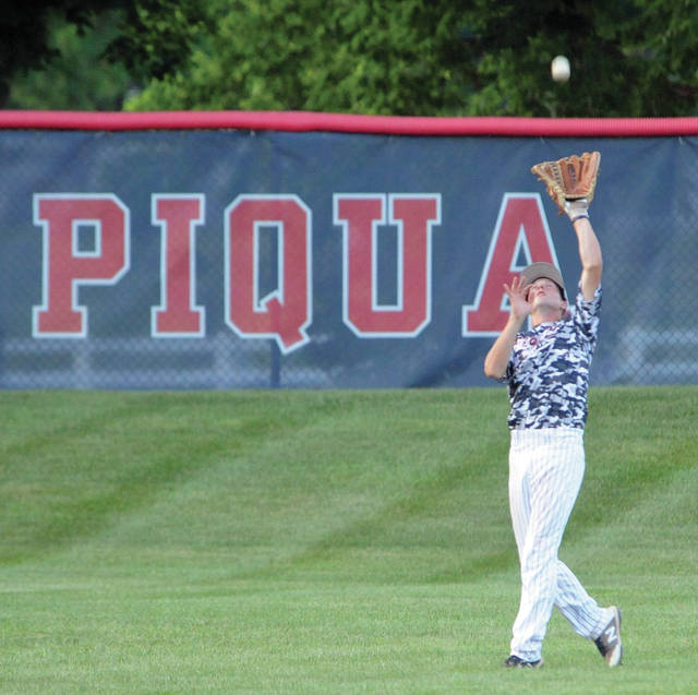 Piqua Post 184 centerfielder Cory Cotrell makes a catch in the first inning Monday at Hardman Field.