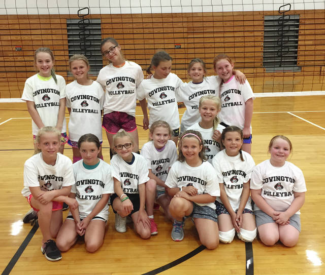 Photo Provided Fourth and fifth grade participants in the Covington youth volleyball camp.