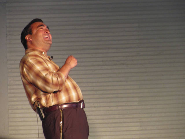Sam Wildow | Daily Call Scholar and actor Fred Blanco performs as Cesar Chavez, human rights activist and co-founder of the United Farm Workers labor movement, at Hance Pavilion during Chautauqua on Wednesday evening.
