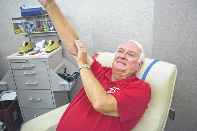 "Provided photo Paul ""Jack"" Westcott of Tipp City makes his 200th blood donation on June 19 at the Dayton Community Blood Center."