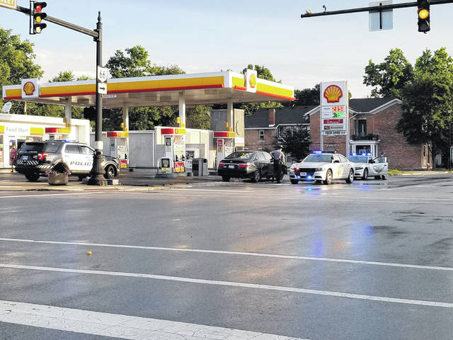 Provided photo A pursuit between a suspect vehicle and the Ohio State Highway Patrol ended outside of the Shell gas station on Main Street in Piqua on Wednesday morning.