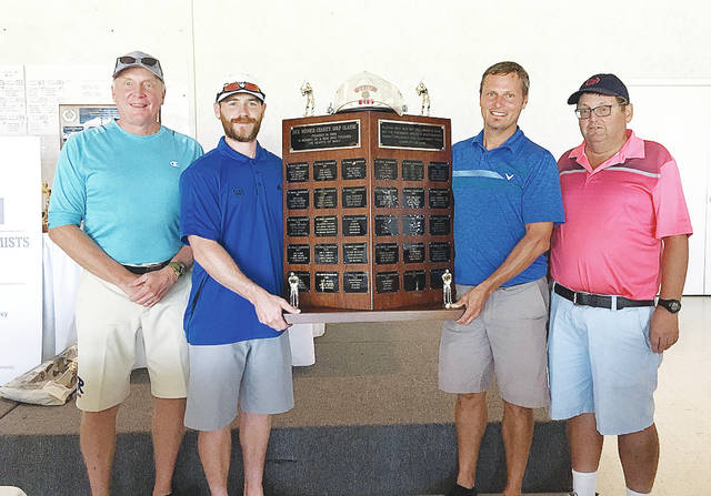 Photo Provided Last year's net winners of the Dick Minnich Charity Classic — Doug Foster, Caleb Lavey, Michael Meredith, Rob Kiser — will defend their title at the 30th annual tournament in August at Shelby Oaks.
