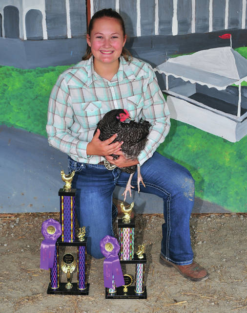 Bethany Weldy, 15, of Covington, won Shoman Of Showmen for Poultry as well as Senior Showmanship. She is a member of Ears to Tails 4-H Club