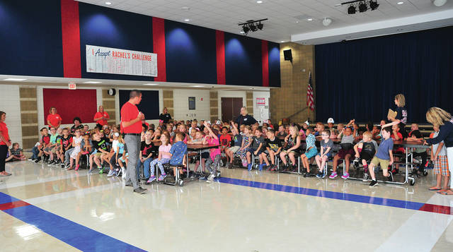Mike Ullery | Daily Call First-graders at Springcreek Elementary School gather in the commons area on Tuesday morning for an orientation and greetings by school staff as Piqua City Schools students headed back to the classrooms.