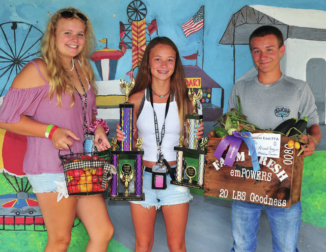 Mike Ullery | Daily Call Meadow Powers, 15, of Casstown won Grand Champion and Reserve Champion FFA Horticulture Project. Powers is a member of the Miami East FFA. She is pictured with Josie Crawford, 4, and Brayden Ingle, 15.