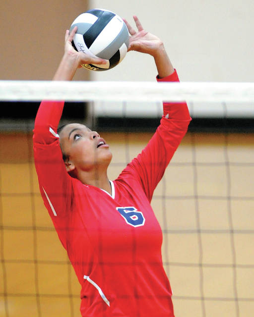 Piqua's Tylah Yeomans sets the ball against Vandalia-Butler.