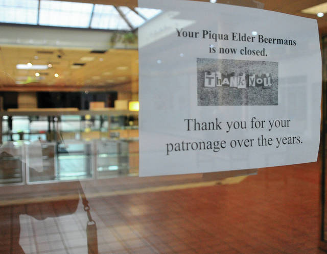 Mike Ullery | Daily Call Long-time anchor store at the Miami Valley Centre Mall, Elder-Beermans closed its doors for the final time last weekend. The closing in Piqua mirrored all stores in the chain as the former retail giant ceased operations company-wide.