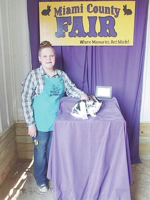 Provided photo Kylee Clemens, 13, of Troy, won third place with her Single Fryer. She is a member of the Rock-N-Rabbits 4-H Club and the daughter of Amie and Shawn Clemens.
