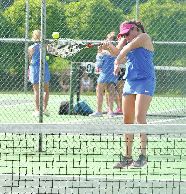 Rob Kiser/Call Photo Lehman Catholic's Sarah Gibson hits a forehand return against Tippecanoe Monday.