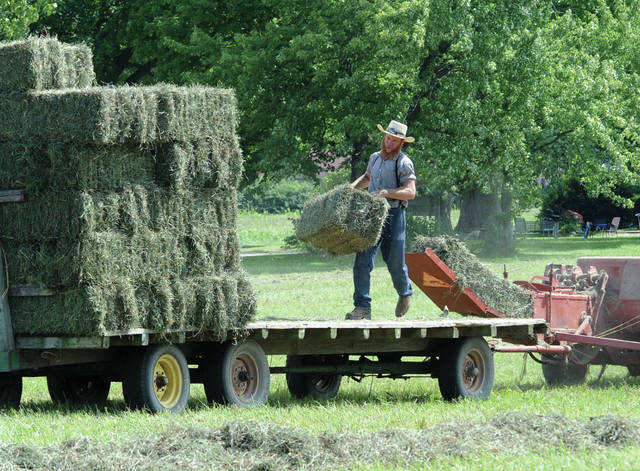 Mike Ullery | Daily Call Neil Garber of Troy stacks baled hay on a wagon in a field off Lytle Road on Wednesday. The third cutting of the season was cut in the morning and baled in the afternoon, in spite of temperature near 90 degrees, in an effort to beat rain forecast for the next several days.