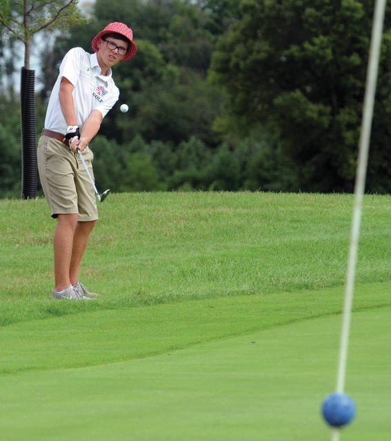 Piqua's Decker Jackson chips on to the green against Troy Friday.