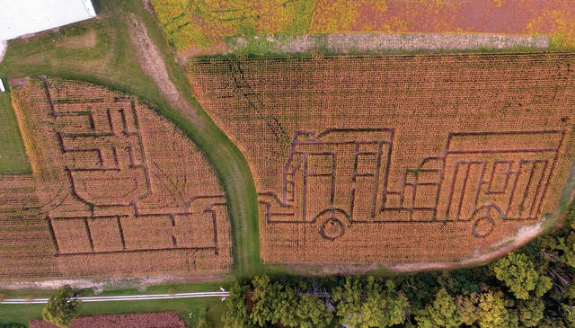 Mike Ullery | Daily Call The Fletcher Fire Department corn maze is ready for visitors to the 2018 Fall Festival. The maze, depicting a fire engine, dump-and-go, and logo, is located at the department headquarters on State Route 589.