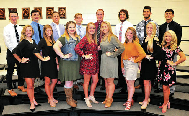 Mike Ullery | Daily Call Piqua's Homecoming Court for 2018 includes, queen candidates, l-r, Kelsey Bachman, Elizabeth Cox, Morgan Hammiel, Kaylee Lacy, Kitte Lampe, Grace McGonagle, Hailey McPherson, and Skylar Sloan. King candidates, l-r, Mason Darner, Kraig Hemmert, Micah Karn, Cade Lyman, Christian Starrett, Brennan Toopes, Grant Toopes, and Owen Toopes. The 2018 homecoming queen will be crowned during the Friday, Oct. 5, game against Greenville. The king will be crowned at Saturday's homecoming dance at Piqua High School.