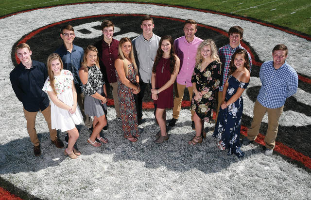 Ben Robinson | Color Green Creative, for AIM Media Midwest The 2018 Covington High School Homecoming court includes, from left to right, boys, Chad Yohey, Samuel Hutchinson, Caleb Rawson, Gray Harshbarger, Tyler Fraley, Parker Dysinger, Keringten Martin; and girls, Anna Winn, Ashlyn Plessinger, Samantha Whiteman, Makenna Gostomsky, Sarah Remley and Chelsea Ford.
