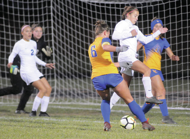 Lehman Catholic's Grace Monnin (6) puts the ball in the net for a goal against Greeneview Thursday night.