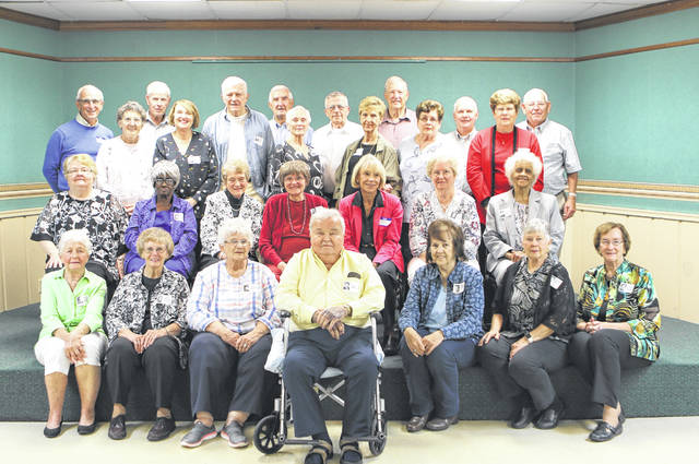 Provided photo Alunmi of Piqua Central High School gathered recently for their 60th reunion. Class members pictured, left to right, are: Row 1: Karen Burch Burkett, Shirley Franke Biagai, Joy Wheeler Robinson, Ron Supinger, Sara Anders Fox, Betsy Zimmerman Hooper, Ann Henderson Sloan. Row 2: Rosemary Harrod Driver, Patty Lucas, Beverly Millet Supinger, Pat Smith Gustin, Cornelia Ernst Tinkler, Lois Schaffer Fair, Carol Thomas Edwards. Row 3: Viola Ward Ault, Rosemary Kienle, Myrna McKee Glassburn, Faye Frock Farris, Barbara Lavey Baker, Joanna Brumbaugh Vance. Row 4: Mike Tinkler, Norris Elifritz, Ken Slack, Wayne Kieswetter, Larry Lawson, Dudley Beaver, Bill Heater, Don Apple.