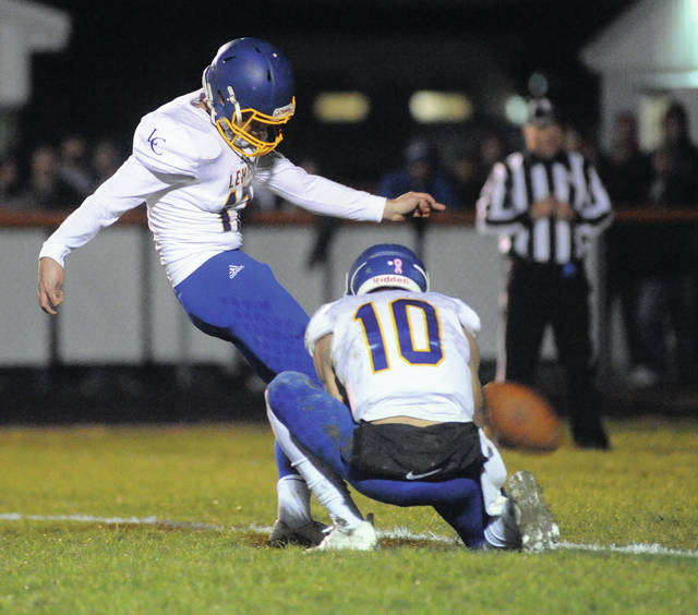 Mike Ullery|Call File Photo Lehman Catholic kicker Michael Denning went over 200 career points with a game-winning field goal against Ansonia last Saturday night.