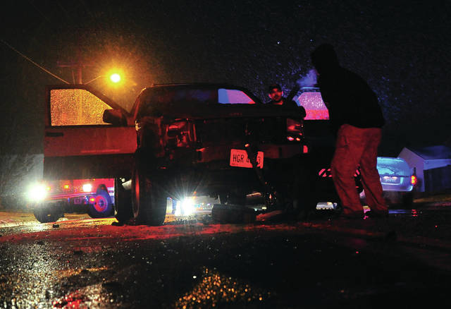 Mike Ullery | Daily Call A vehicle rests in the roadway on Sunset Ave. following a two-car crash on Monday evening.