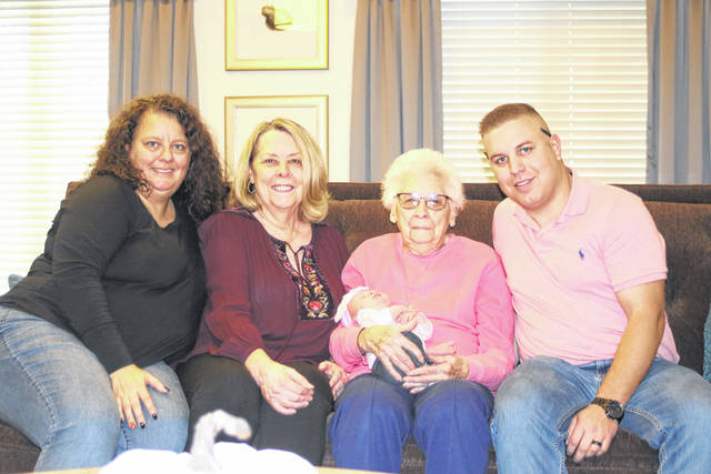 Provided photo Baby Quinn Cottrell is held by her great-great-grandmother, Rita RIcker of Delphos, Ohio. Her other relatives, left to right, are grandmother Holly Hawk of Piqua; great-grandmother Patricia Smith of Lima; and father Brandon Cottrell of Centerville.