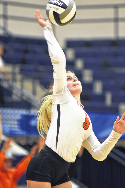 Dale Barger|Aim Media Photo Alexa Didier serves up a winner for Versailles. She has 35 aces this season.