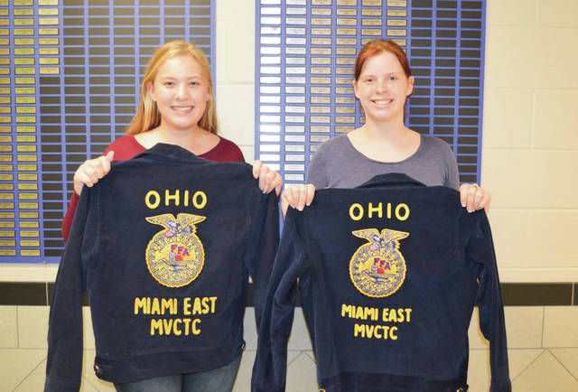 Procided photo Members from the Miami East-MVCTC FFA Chapter who received a free FFA jacket through the Blue Jackets program were Gretchen Stevens, left, and Rylee Puthoff.