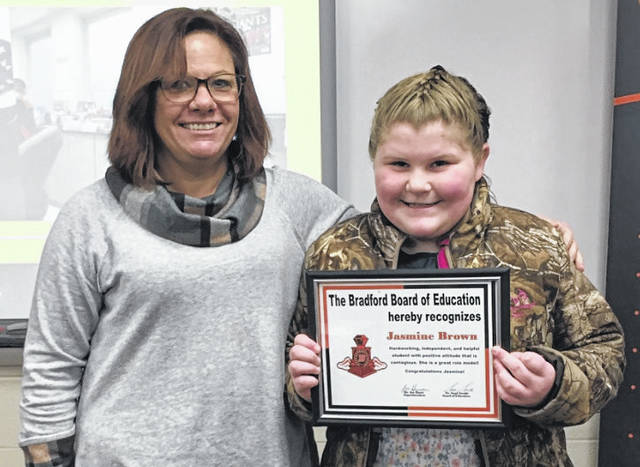 Provided photo Elementary School Principal Michelle Lavey (left) with student Jasmine Brown (right), who was recognized during the Bradford Board of Education's student spotlight.