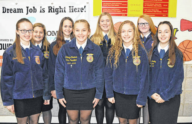 Provided photo Competing in the District 5 Novice Parliamentary Procedures Career Development Event were, front row, left to right, Courtney Bair, Kaitlyn Roop, Abigail Henderson, and Emma Sutherly. Back row, Katie Larson, Marisa Savini, Gretchen Stevens, and Gwyndalynn Ferryman. The team placed seventh.