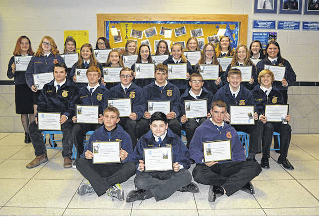 Provided photo Miami East-MVCTC FFA Chapter Greenhand Degree Recipients were front row, left to right Ethan Ott, Ian Ellis, and Samuel Sutherly. Second row, Kris Richey, Elias Strubler, Anthony Putnam, Grayson Jacobe, Evan Massie, Cael Rose, and Austin Francis. Third row, Gwyndalynn Ferryman, Katie Larson, Sunnee Hazel, Emma Sutherly, Kaitlyn Roop, Courtney Bair, Abigail Henderson, and Sierra Johnson. Fourth row, Jayden Gates, Chloe Gump, Lexi Stevens, Cadence Ray, Marisa Savini, Gretchen Stevens, Haley Horne, and Summer Sizemore.