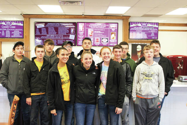 Provided photo Bradford-UVCC FFA members who attended the 91st National FFA Convention and Expo included, left to right, front row: Kyle Kissinger, Mercedes Smith, Alexis Barhorst, Nylani Beireis, Brandon Jones; back row: Dane Shelton, Joey Brussell, Keaton Mead, Jay Roberts, Adian Beachler, Tevin Felver, Justin Bryan