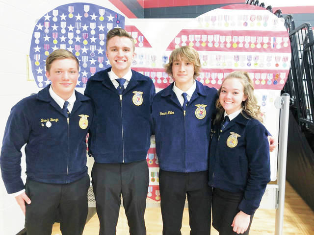 Provided photo Covington-UVCC FFA members, left to right, Brock Barga, Tyler Fraley, Connor Sindelir and Tori Quinter recently competed in the District Job Interview contest against students from six other counties.