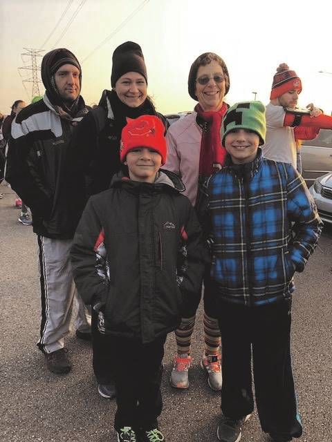 The Zerkle family of Tipp City participated in the Tipp Turkey Trot at Kyle Park. The family ran the 10K along with grandmother Diane Seaman, 67, of New Carlisle who ran the benefit race for the eighth time on Thursday morning.