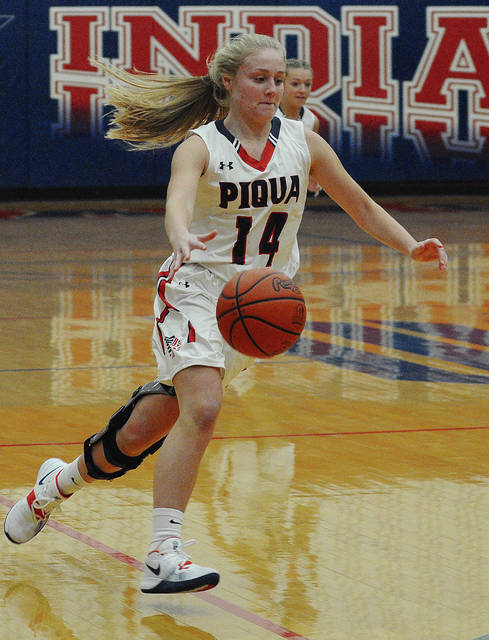 Rob Kiser|Call Photo Piqua's Hailey McPherson makes a move to the basket against Graham Tuesday night at Garbry Gymnasium.