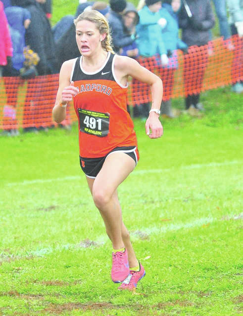 Mike Ullery|Daily Call Bradford's Karmen Knepp will run her final race at the state cross country meet Saturday,