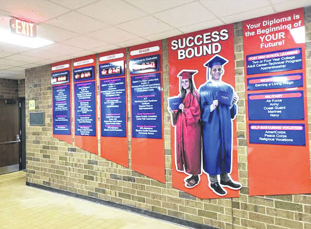 Provided photo The new Piqua High School Success Bound display is up and students are already using this important tool to monitor their success toward graduation. Each grade level has a countdown clock to their graduation date to remind them to stay focused on completing the requirements that will lead to earning their diploma and a successful transition to post-secondary education, the workforce, military, or a vocation.