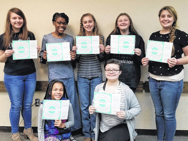 Courtesy of Beth Royer-DeLong | YWCA Participants in the Girls Who Code program at the Piqua YWCA receive their certificates. Back row, left to right: Brianne DeLong, Kiera Thomas, Adelynn Rich, Elaini Grove, and Haily Tyson. Front row left to right: Willow Candy-Stone and Emma DeLong.