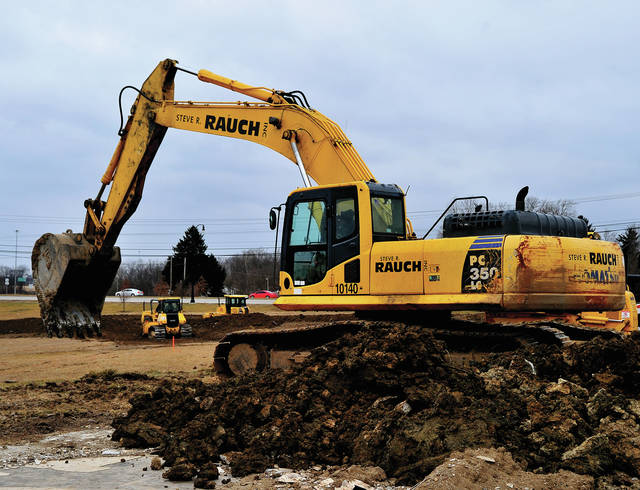 Mike Ullery | Daily Call Heavy equipment crews from Steve Rouch Excavation in Dayton were busy on bulldozers and track hoes doing site work at the new Kettering Medical Center location on Looney Road on Wednesday.