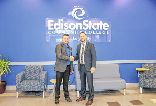 Provided photo John Stephens, superintendent of Arcanum-Butler, and Chad Beanblossom, vice president of regional campuses at Edison State, meet to discuss their partnership of the new Agriculture Education building.