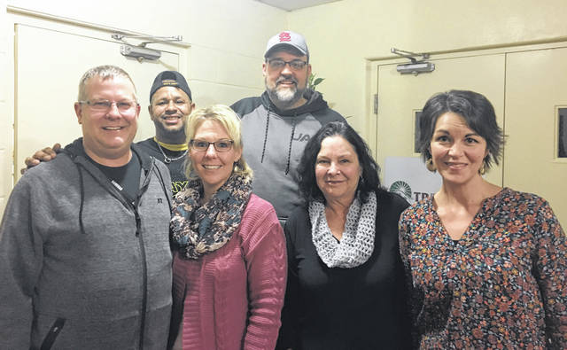 Sam Wildow | Miami Valley Today From left to right, facilitator Doug Dolder, Larry Taylor of Piqua, facilitator Bethany Dolder, Pastor David Fishback, Piqua Compassion Network Executive Director Rebecca Sousek, and facilitator Jerrilyn Lowe of Celebrate Recovery.
