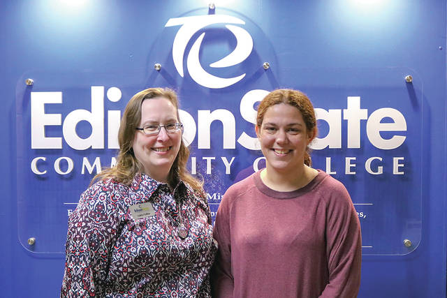 Provided photo Loleta Collins, left, and Carin Benning are the 2018 fall Employees of the Semester at Edison State Community College.