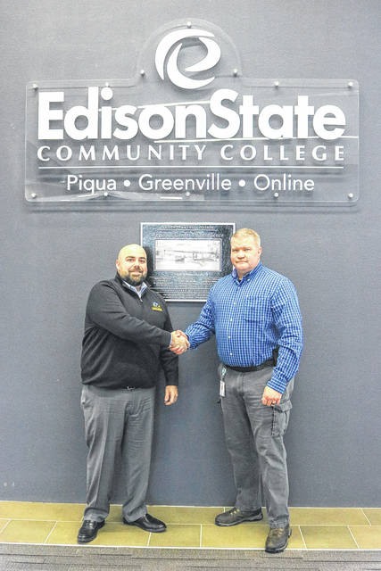 Provided photo Charlie Carpenter, left, director of Skill Education at Hobart Institute of Welding Technology, and Dr. Tony Human, dean of Professional and Technical Programs at Edison State, meet on behalf of the two institutions entering a consortium agreement.