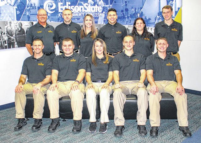 Provided photo Edison State's 35th Police Officer Academy students were honored during a ceremony in December. Back row, left to right: Commander Joseph Mahan, Shawn McIntire, Lisa Holfinger, Marquis Payton, Sarah Maynard, Zayne Taylor; front row, left to right: Justin Miller, Robert Benshoff, Alyssa Baker, Brandon Lingenfelter, and Dustin Elsass.